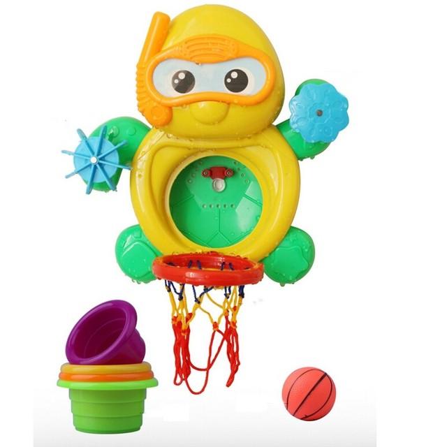 Bebê brinquedos de banho de chuveiro casa de banho Animal ambiental Full Set Hot Sale Kid ' s basquete brinquedo pequena tartaruga quatro xícaras