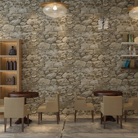 Vintage Non woven Wallpaper Roll Old Marble Stone Wall Paper for Restaurant Cafe Decoration Wall Papel De Parede Wallcoverings
