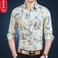 Otoño comercial masculina de impresión de manga larga camisa masculina camisa de manga larga de la flor de la flor delgada camisa de la tapa