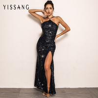 Yissang Sexy Halter Off Shoulder Backless Dresses Sequin Elegant Party  Night Club Dress Women Mesh High 3b9411a5e4e6