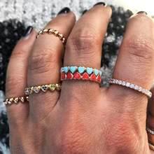 Bonito adorável esmalte coração banda anel de ouro preenchido rosa azul vermelho colorido bandas feminino senhora moda dedo anéis