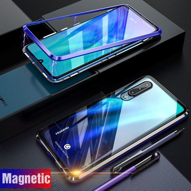 Luxury Magnetic Adorption Armor Case For Huawei P30 Pro Case Metal Glass Cover For Huawei P30 Lite Bumper P30Pro P 30 Flip Case