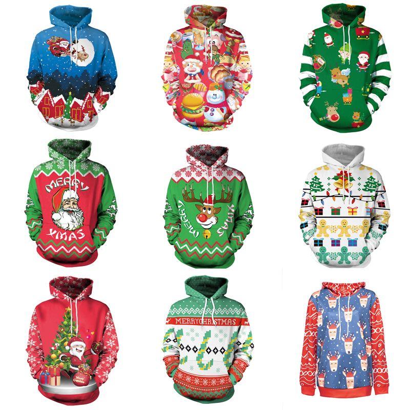 12 Colors Unisex Hooded Sweatshirt Printed Santa Claus Elk Women Costume Cosplay  Loose Hoodie Festival Adult Sweatshirt