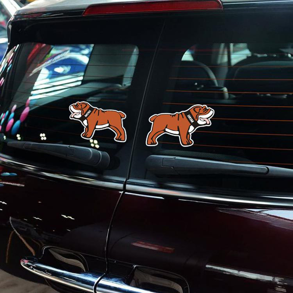 Car stickers design philippines - 2 X Reflective Car Decal Bulldog Open The Door Warning Sticker For Mini Cooper Countryman Clubman
