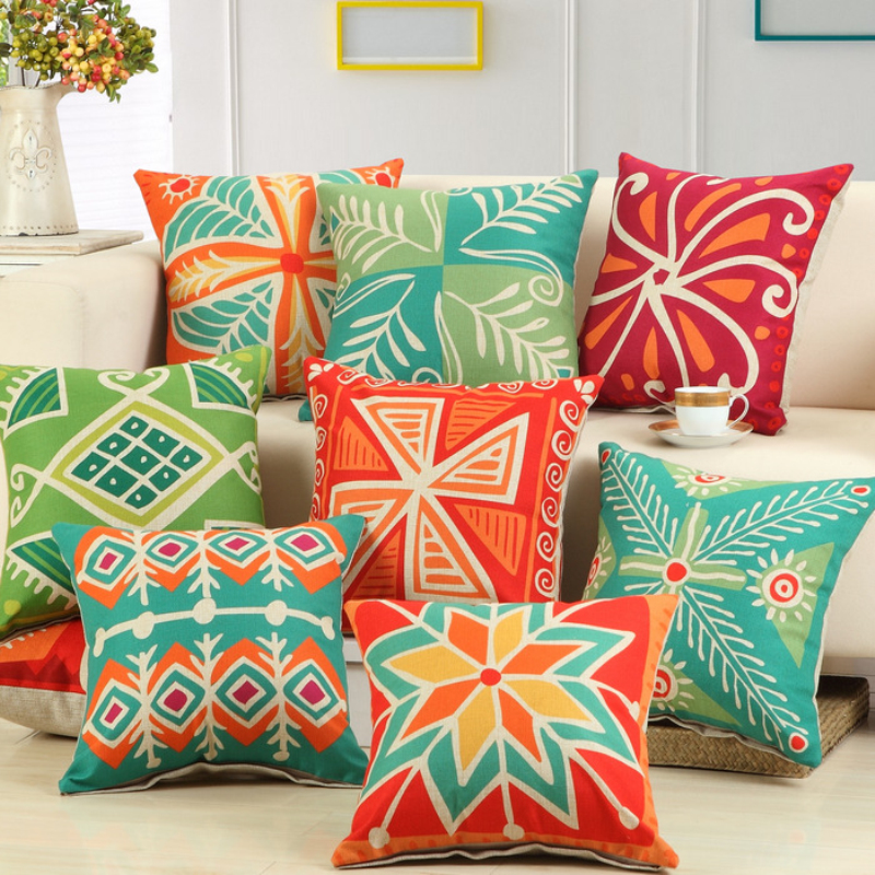 On sale 45cmx45cm Fashion Colorful Style Cushion Cover Pattern Cotton Linen Pillow Cover Cushion Cover PillowCase Home Decor