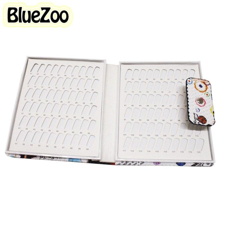 BlueZoo 120 Colors Nail Gel Polish Display Card Book Chart Nail Art Salon Fingernail Gel Polish Box Show Blank Nail Tools