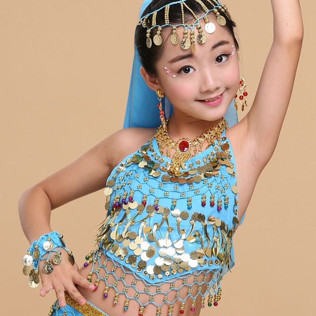 Hs13 Aged 5 14 Years Old Sexy Sequins Indian Dress -2970