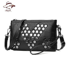 Rivet Famous Brand Designer Women Messenger Bags Genuine Leather Female Handbag Fashion High Quality Clutch Ladies Shoulder Bag