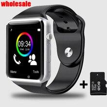 10pcs/lot Wholesale A1 Bluetooth Wrist Smart Watch Clock Intelligent Pedometer SIM Camera Smartwatch For Android Watch Phone