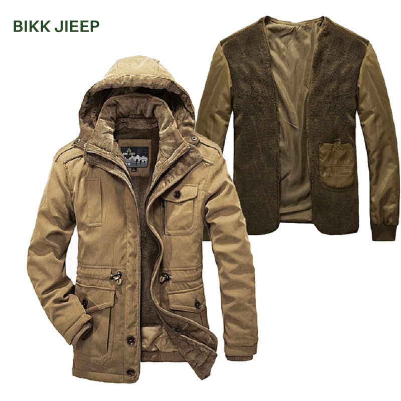 Men Parka Warm Two Pieces Winter Jacket Men Hooded Thick Padded Jaqueta Masculino Inverno Mens Down Jacket Mens Winter Coats hooded winter jacket women thick cotton padded parka down warm casaco feminino jaqueta feminina abrigos mujer invierno sy235