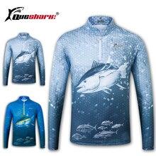 Queshark secagem rápida roupas de pesca de manga longa camisa verão de secagem rápida respirável anti uv proteção solar jaqueta de pesca