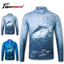 Queshark מהיר יבש דיג בגדים ארוך שרוול חולצת קיץ ייבוש מהיר לנשימה אנטי Uv הגנה מפני שמש דיג מעיל