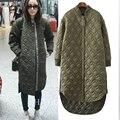 Зима женщины мода длинный толстый теплый пуховик хлопка куртки женщины Большой размер высокое качество армия зеленый свободного покроя пальто женщины шинель куртка