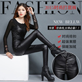 Plus Size 2015 New Women Pencil Slim High Leather Wear Outside Five Pencils Pant Black Wine Red 8853