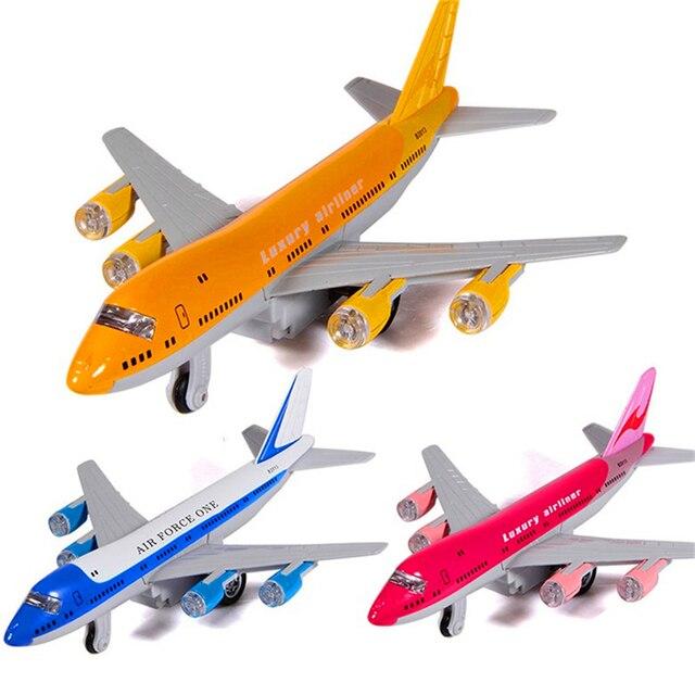 Alloy Diecast Air Force One Pesawat Airbus Kontainer Transportasi Truk Pull Back ACTION Lampu & Suara Pesawat Model Anak-anak Hobi mainan