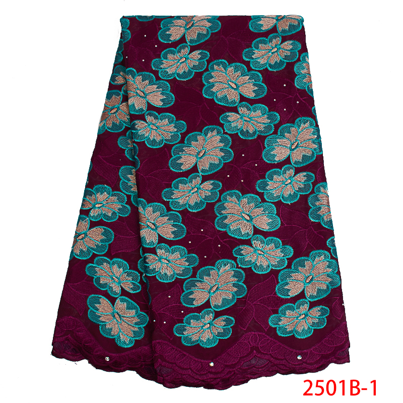 High Quality Swiss Voile Lace In Switzerland 2019  African Swiss Lace Fabric Cotton Embroidery Dresses For Women KS2501B-1