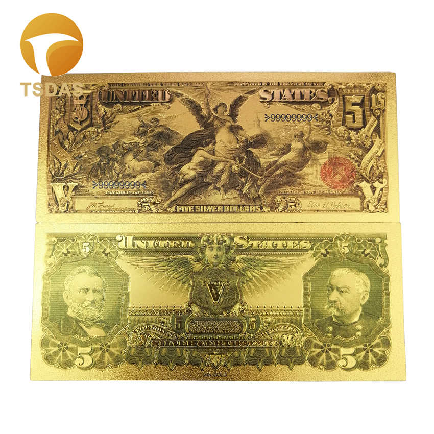 Colorful America Banknote 5 Dollars Banknote in 24K Gold Foil Plated For Gifts