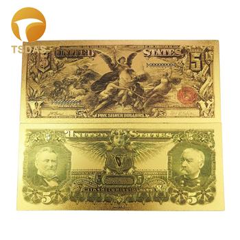 Kolorowe ameryka banknotów 5 dolarów banknot w 24K złoto foliowane na prezenty tanie i dobre opinie TSDAS Ludzi Z tworzywa sztucznego Europa gold banknote gold foil + pet Souvenir home decoration 100pcs opp bag