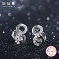 Shipinwei Authentic 925 Sterling Silver Double 8 Infinity Stud Earrings For Women Fashion Jewelry Wedding Valentine's Day Gift