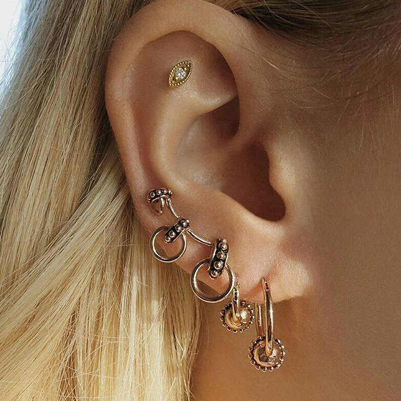 New Fashion Personality Earrings Vintage Fashion Brand Earrings Set Women Street Patting Earrings Wholesale Flower Earrings