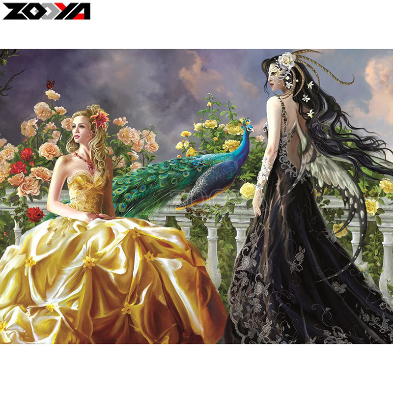 ZOOYA Full square/Round drill Diamond embroidery Two beautiful women 5D DIY diamond Painting Cross Stitch Rhinestone Mosaic E22