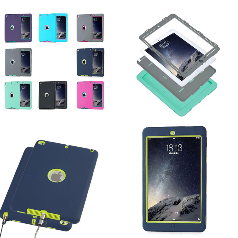 Shockproof / Dropproof Hybrid Armor Silicon PC Back Case Skin Cover For iPad AIR 2 Air2 ipad 6 Protective Case for Kids Children hand strap shockproof stand case armor cover for ipad air 2 ipad 6 full protective stand case for ipad air2 ipad6