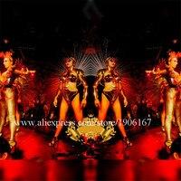 Nightclub Gold Mirror Robot Women Dance Suit Stage Costumes Catwalk Show Rivets Bodysuit Clothes Party Catwalk Models DS Dress