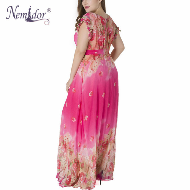 Women Chiffon Sexy V-neck Short Sleeve Beach Print Dress Stretchy Plus Size 7XL Summer Long Maxi Dress 2