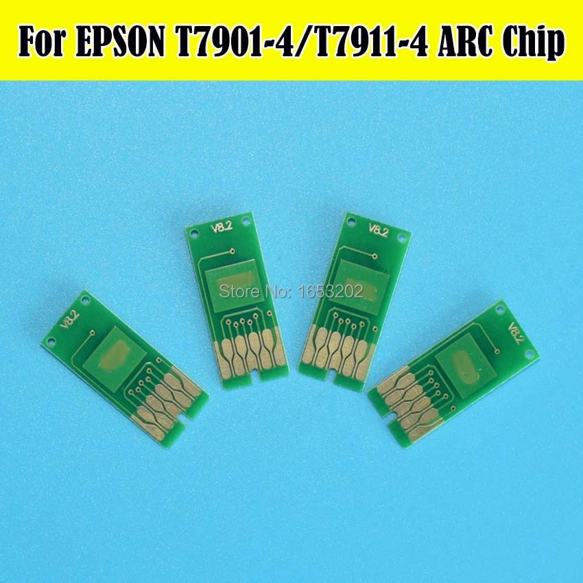 10Set Permanent Auto Reset Chip For Epson T7901 -T7904 T7911 -T7914 WF -4630 WF5110 WF5190 WF5690 WF4640 WF5620 Printer chip for lexmark computer peripheral supplies chip for lexmark c748 mfp chip reset refill resetterter chips free shipping