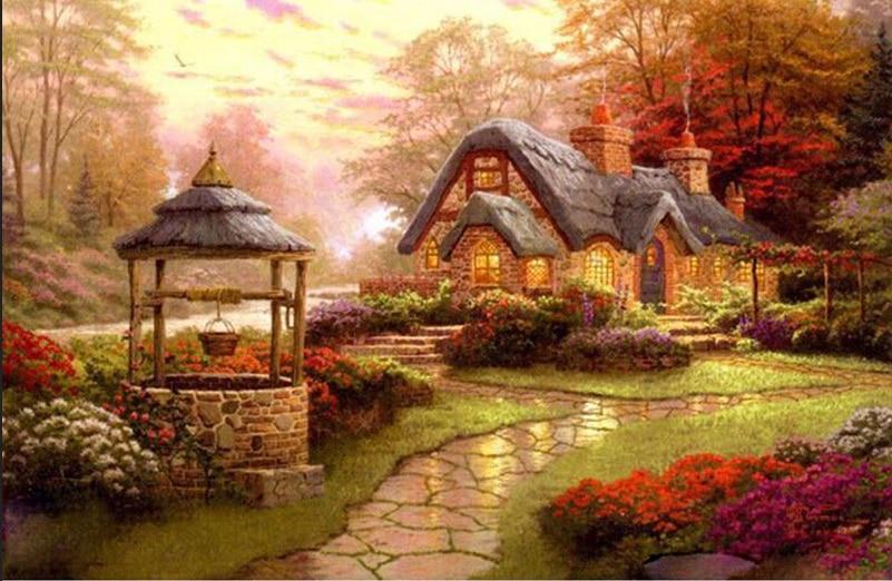 5D поделки алмазов картина домик Пейзаж Вышивка полный круговой Алмазный вышивки крестом горный хрусталь мозаика живопись Декор