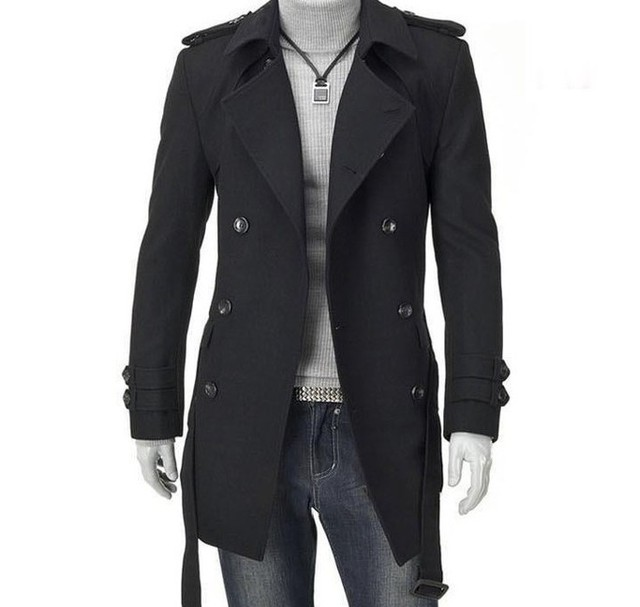 2015 New Men Trench Coat Double-breasted Outwear Cheap Winter Long Coat Woolen Coat