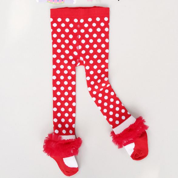 0-36M Spring Autumn Newborn Baby Girl Tights Cotton Bow Lace Dance Stocking Red Dot Pantyhose Infantil Clothes Ballet Tights