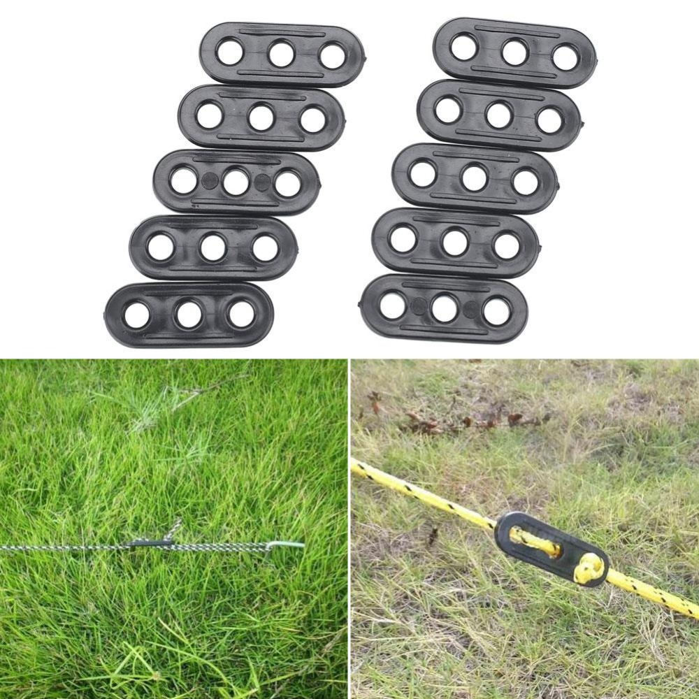 10PCS Outdoor Camping Tent Guy Rope Line Tensioners 3Holes Rope Tensioners Tent Guy Line Rope Tensioners Accessory Awning fixer