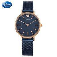 DISNEY Mickey Casual Quartz Wrist Watches For Women Luxury Stainless Steel Watch Women Waterproof Ladies Watch Bracelet Clock