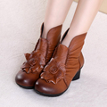 women 2016 autumn winter fashion genuine leather  handmade vintage shoes female short boots comfortable botas 6780#