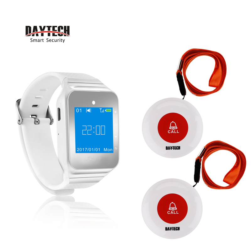 DAYTECH Pager Restaurant Service Call Button Calling System 433MHZ Watch Pager for Cafe/Hospital Elder Emergency Alert Call the restaurant wireless pager set hospital ktv2 service bell chess room pager pager beadhouses cafe