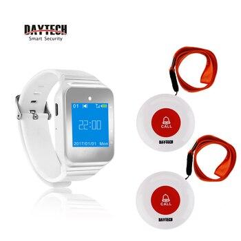DAYTECH localizador de restaurante servicio de llamadas sistema de llamadas de botón 433MHZ reloj localizador para café/Hospital Elder llamada de alerta de emergencia