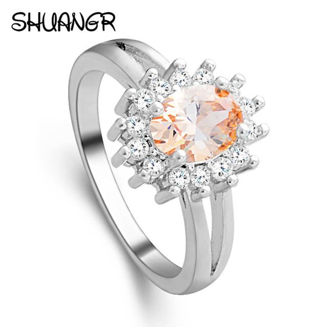 SHUANGR Hot sale Fashion Luxury Crystal Orange Flower Women Engagement Ring Cubi