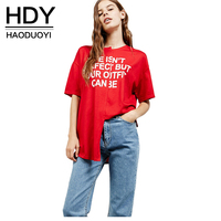 HDY Haoduoyi Asymmetrical Basic Tops Women Short Sleeve Female Letter Print Pullover Tops Street Loose O