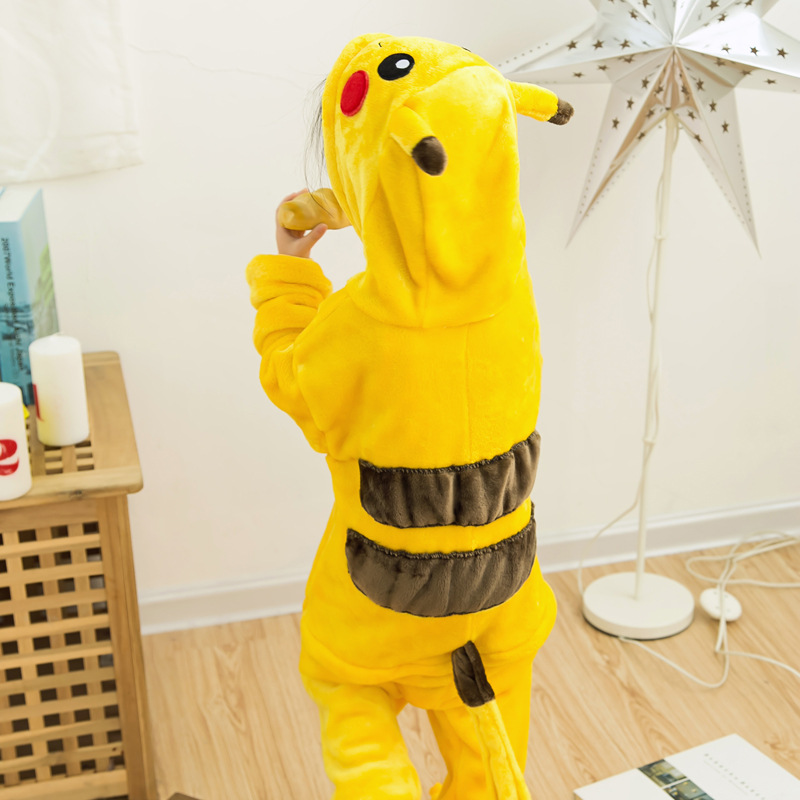 Children Pokemon Pikachu Boys Girls Onesie Kids Warm Soft Cosplay Pajamas One Piece Sleepwear Halloween Costumes Misvng