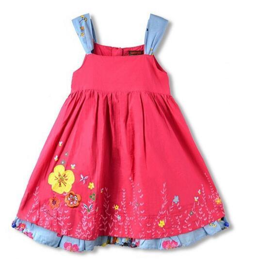 Nueva catimini Bebé Vestido del hombro-correas Niñas bordado flores Vestidos de algodón Puro de La Princesa Vestidos de Los Niños al por mayor