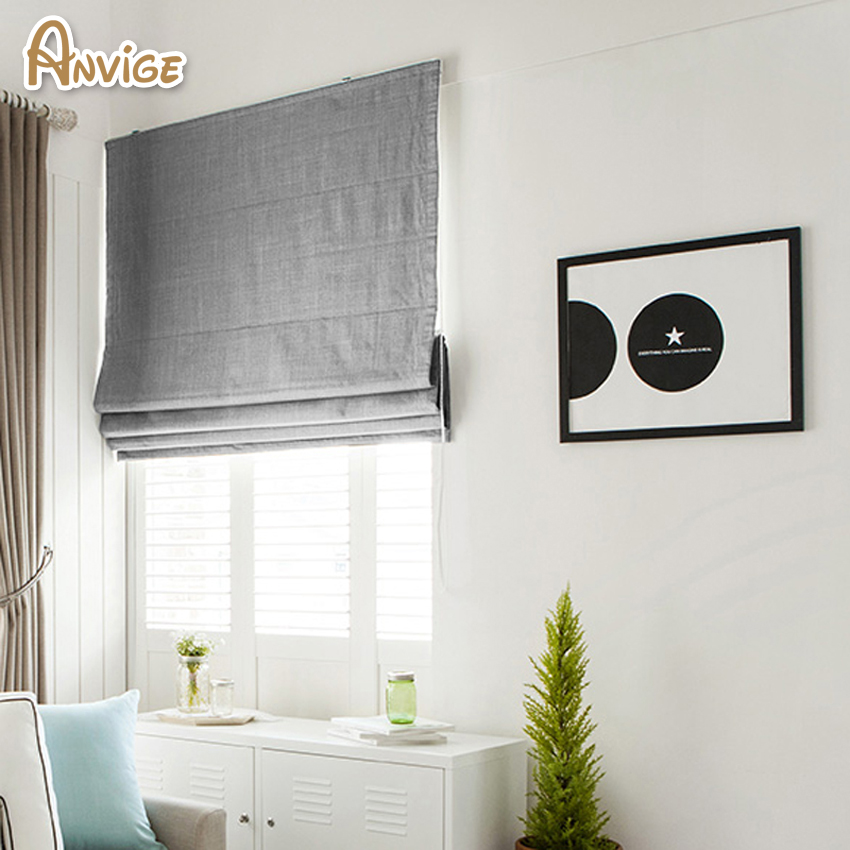 Us 29 61 10 Off New Arrival Modern Cotton Linen Cloth Roman Blinds Roman Shades For Living Room Window Curtains Free Shipping In Blinds Shades