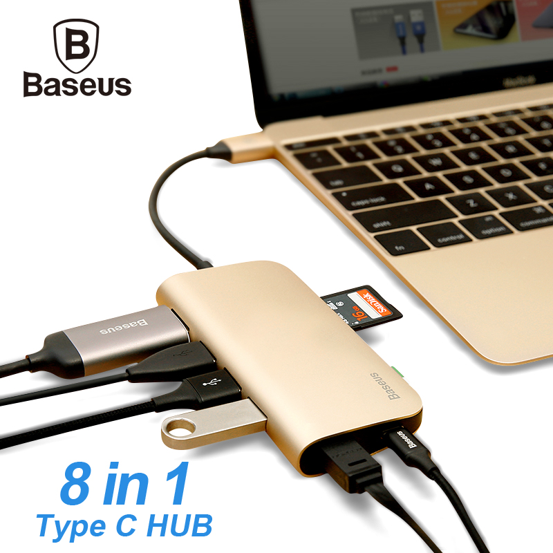 Baseus USB C HUB 8 in 1 USB-C HUB with Type-c to Multi USB 3.0 HDMI RJ45 Ethernet Network Micro SD TF Card Reader OTG Type C HUB