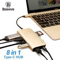 Baseus usb cハブ8で1 USB-Cハブでタイプ-cにマルチusb 3.0 hdmi rj45イーサネットネットワークマイクロsd tfカードリーダーotgタイプcハブ