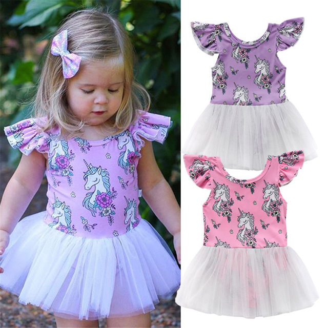 2aaf30d9b2 Summer Toddler Kid Baby Girls Ruffles Sleeve Unicorn Prinetd Tulle Tutu  Dress Party Pageant Cotton Lovely Kids Sundress Clothes