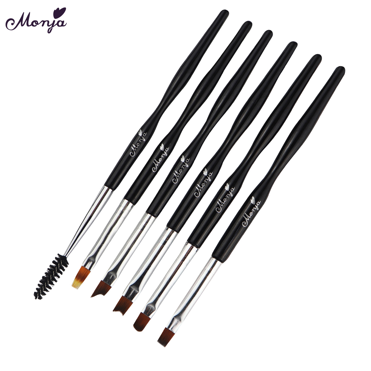 Monja 6 Style Nail Art Acrylic UV Gel Extension Builder Brush Gradient Fade Color French Flower Drawing Painting Pen цена