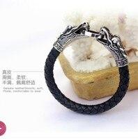 Оптовая продажа мужской кожаный браслет тибетский серебряный титановый модный Мужской винтажный аксессуар parataxis dragon Браслет мужские украшения