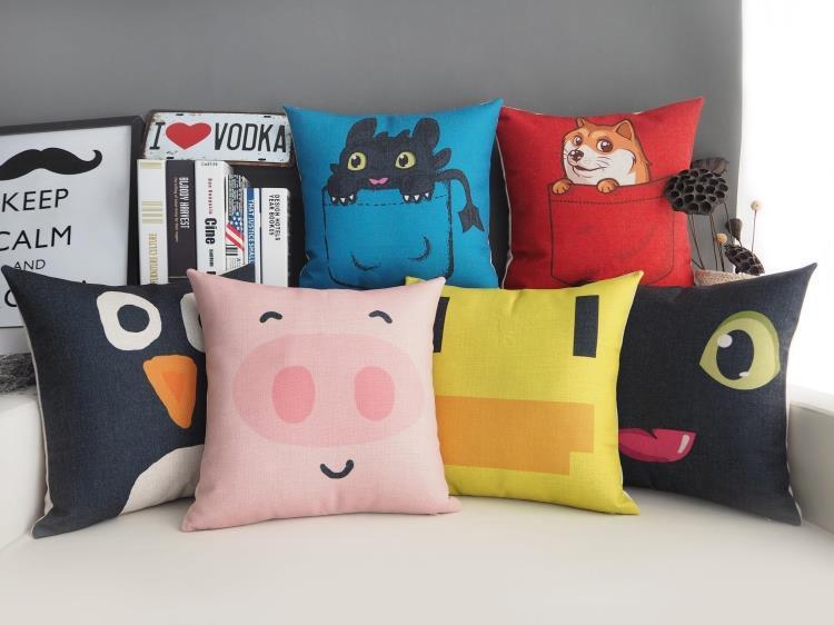 Creative Cute Pig Duckling Pillow ,Cartoon Animals Cushion ,Linen Pillowcase,sofa Cushions Home Decorative Pillows