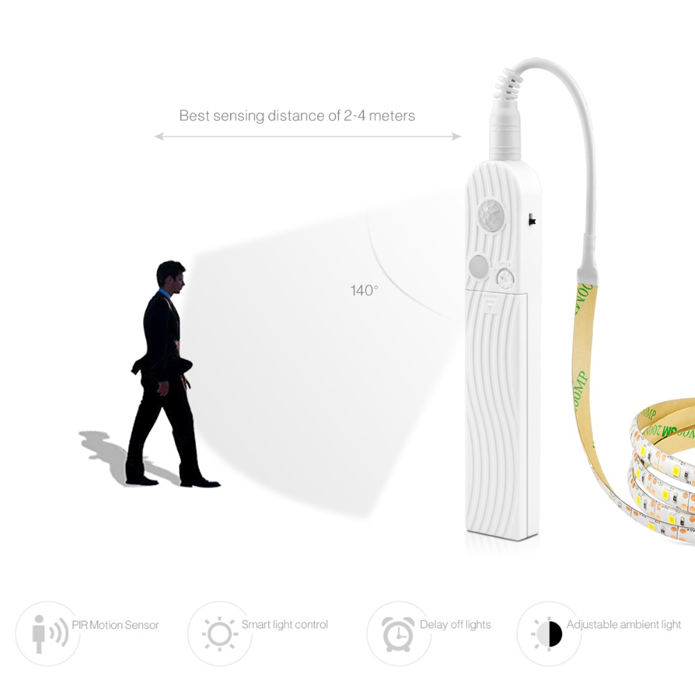 Image 3 - Novelty Wireless PIR Motion Sensor LED light Bulb 1M 3M 5V USB LED Strip lamp Kitchen Cabinet Bedroom Night lighting Decoration-in Novelty Lighting from Lights & Lighting