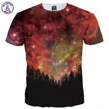 Mr.1991INC New Fashion Men/Women 3d T-shirt Summer Tops Tees Digital Print Night Trees Space Galaxy 3d Tshirts